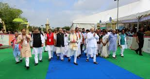 Indian National Flag Hoisting Photo Bjp Party Flag Hoisting Before Bjp National Council In