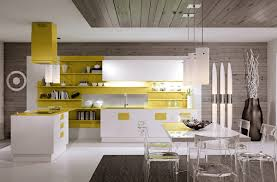 kitchen glossy white and yellow kitchen cabinet also white built
