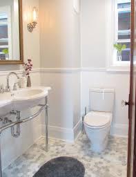 hexagon tile bathroom traditional with alcove baseboards bathroom