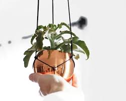 Modern Hanging Planter by Aena Copper Hanging Planter Modern Macrame Hanger With