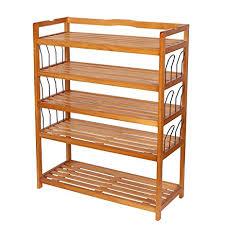 amazon shoe storage cabinet amazon com homfa 5 tier wooden shoe shelf storage organizer