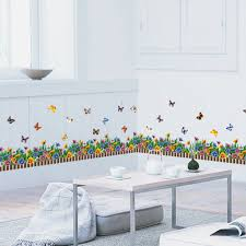 colorful flower butterfly skirting line flora diy wall sticker for colorful flower butterfly skirting line flora diy wall sticker for kids room bedroom nursery wall decals art pvc baseboar mural in wall stickers from home