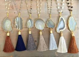 long tassel necklace images Wholesale popular agate tassel necklace long layering tassel jpg