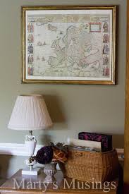 decorate with old maps using an old map with a picture frame