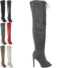 womens ladies over the knee thigh high lace up stilettos
