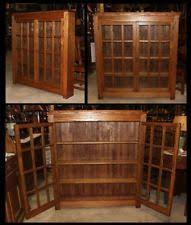 Oak Bookcases With Glass Doors Arts Crafts Bookcase Ebay