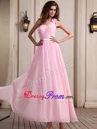 light pink dama dresses one shoulder ankle length baby pink prom dress with flower