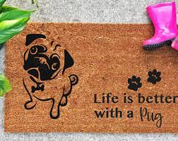 Coir Doormat Wipe Your Paws Dog Welcome Mat Etsy