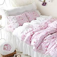 amazon com fadfay cute bunny bedding set white ruffle pink duvet