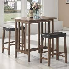 Sofa Table With Stools Amazon Com 3pc Breakfast Table And Stools Set In Nut Brown