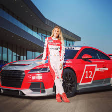 audi racing blonde audi race driver does duckface kiss with playboy bunny