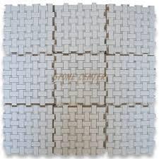 thassos white 1x2 basketweave mosaic tile w green dots honed
