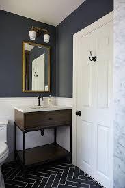blue and gray kid u0027s bathroom features upper walls painted dark