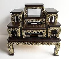 large size home decor thai wood carving buddha table set shelf