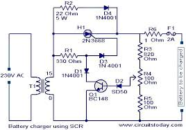 battery charger circuit using scr electronic circuits and