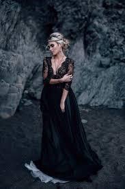 black wedding dresses v neck tulle lace black white wedding dress the