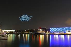 3d light show spaxels fleet of quadcopters spell bound with their 3d light