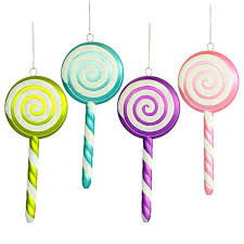 assorted lollipop ornaments with white swirl 8 inch 4 box