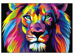 lion print canvas banksy street art print rainbow lion painting 70cm x 55 ebay