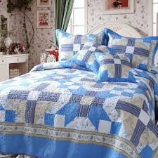 Queen Quilted Coverlet Dada Bedding Blue Floral Abstract Star 100 Cotton Reversible Real