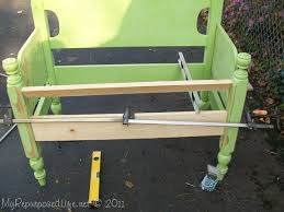 How To Build A Bench Seat Toy Box by Twin Headboard Bench Tutorial My Repurposed Life