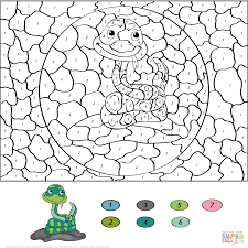 cartoon snake color number free printable coloring pages