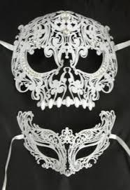 white masquerade masks for women men women silver metal evil skull and venetian laser cut