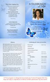 Funeral Program Sample Ao Butterfly Letter Single Fold Funeral Program Template