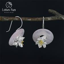 whispers earrings lotus real 925 sterling silver creative handmade