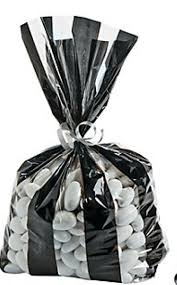 black and white striped gift bags football