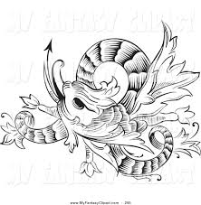 clip art of a black and white coloring page twisting chinese