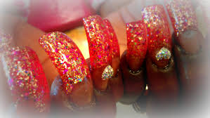 how to long nails acrylic application glitter youtube