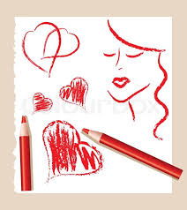 pencil sketch of red hearts and beautiful woman vector stock