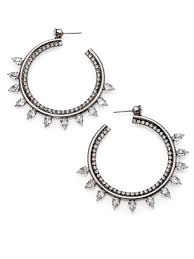 dannijo earrings dannijo caroline hoop earrings 2 25 in metallic lyst