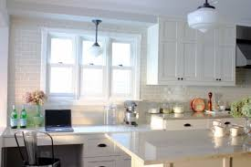 kitchen white brick backsplash plus modern kitchen design idea