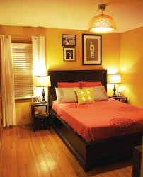 bedroom with orange accent wall design ideas paint colors cute