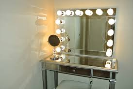 Bedroom Vanity Mirror With Lights Fancy Decorating Ideas Using Rectangular Silver Metal Dressers And