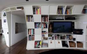 White Wood Bookcases by Decorative Dark Painted Wooden Floating Bookcase With Circle Shape