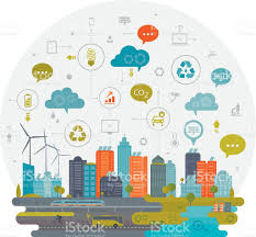 smart tecnology green city and smart technology stock vector art more images of