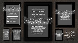 and black wedding invitations read more string lights calligraphy wedding invitations