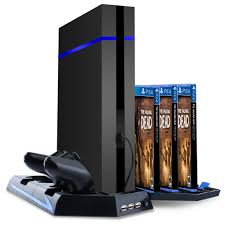 Vertical Stand U0026cooling Fan For Sony Ps4 Game Holder Dual Charging