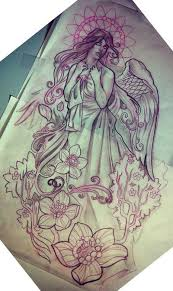 16 best half sleeve angel tattoo sketches images on pinterest
