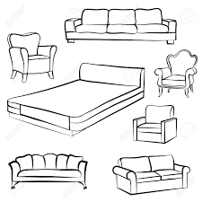 furniture set interior detail outline collection bed sofa
