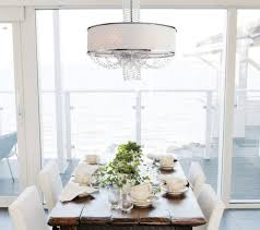awesome crystal chandelier with white drum shade for luxury dining