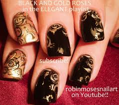 black and gold rose nail art design elegant nails youtube