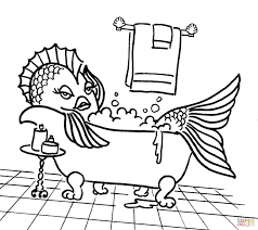cartoon fish in the tub coloring page free printable coloring pages