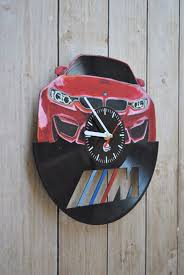 bmw handpaited unique vinyl record wall clock home decor vinyl