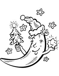 cartoon crescent moon christmas tree coloring free