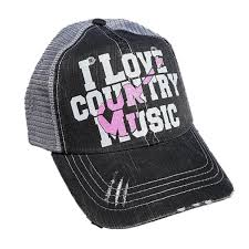 i love country music grey pink guitar trucker style hat show me