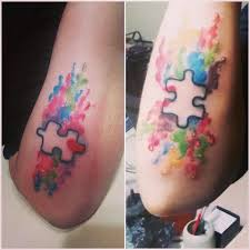 matching watercolor puzzle pieces tattoos venice tattoo art designs